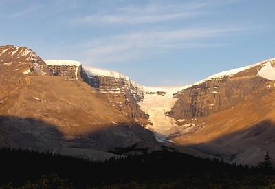 Dome Mountain, Dome Glacier and Mount Kitchener at sunrise.