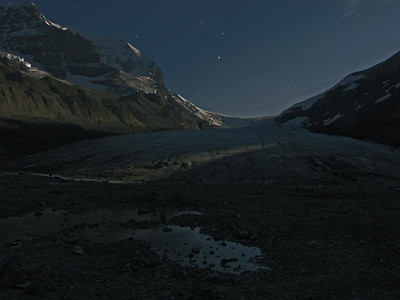 Athabasca Glacier as it might look by moonlight. Photo modified in Photoshop.