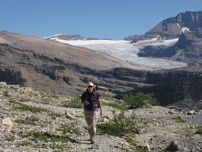 On the Iceline Trail with Daly Glacier, the source of Takakkaw Falls, in the background.