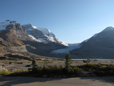 Athabasca Glacier from the parking lot of the Icefield Centre.