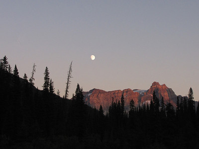 Moonrise over Cathedral Mountain in Yoho National Park.
