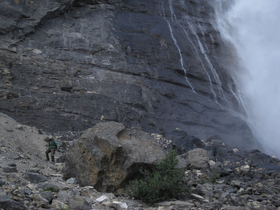 Dawn at the base of Takakkwa Falls in Yoho National Park.
