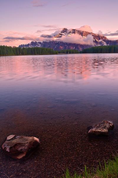 Canadian Rockies, Banff National Park, Two Jack Lake, Sunset, Landscape, 加拿大, 班夫国家公园 风景
