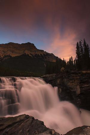 Athabasca Falls at sunset