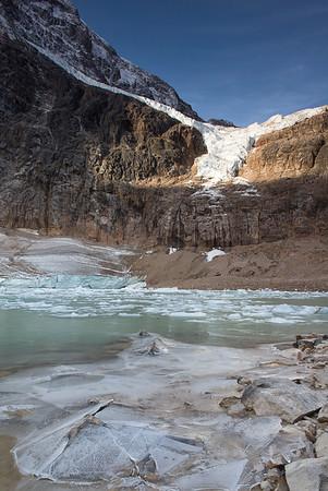 Angel Glacier and lagoon at Mt Edith Cavell