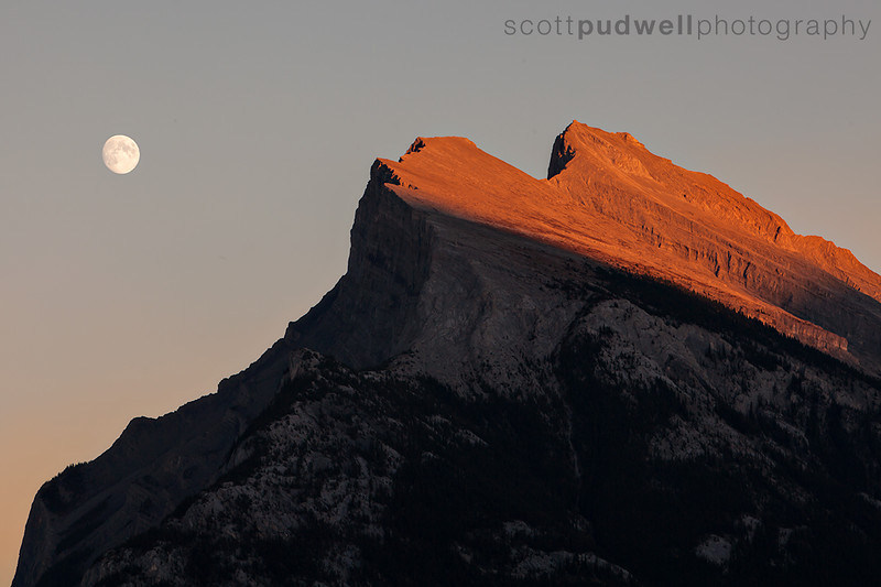 Mt Rundle and the moon on a crisp September day in 2012.
