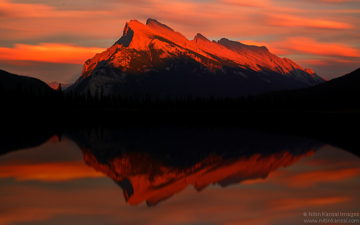 Fire on Mountain and Light in the Sky - Vermilion Lakes, Banff National Park<br /> <br /> Vermilion Lakes A.K.A Three lakes area were addition to our plan at last minute. We changed our plan to hit this area at sunset. I'm so glad we were at right spot at right time!!