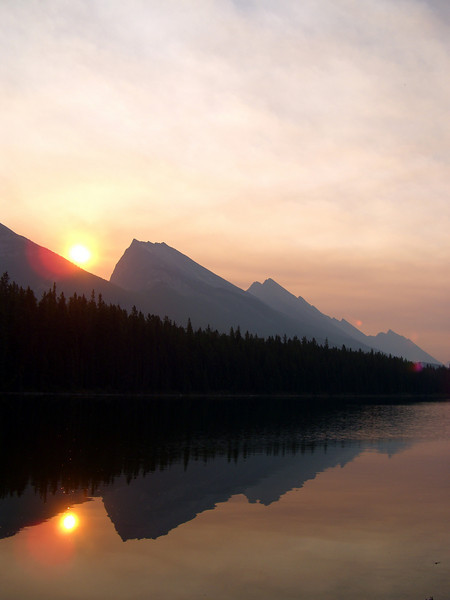 Sunrise over Honeymoon Lake, Jasper National Park