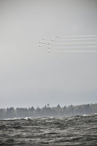 Below the seas raged, 10-15ft breakers, above practicing for an air show.