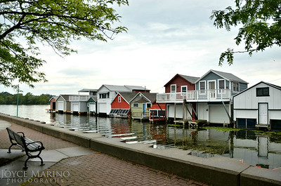 Boat houses along Canandaigua City Pier