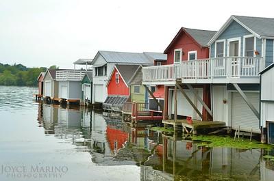 Boat houses along Canandaigua's City Pier