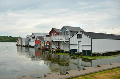 Boat houses on Canandaigua's City Pier