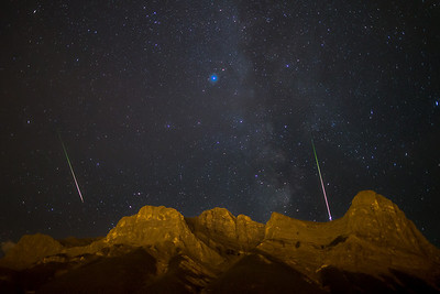 Perseid meteors over Mt. Lawrence Grassi, Canmore