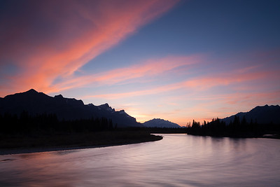 Sunset over the Bow River, Canmore, Alberta