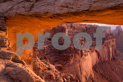 Morning Alpenglow on the bottom of Mesa Arch, Canyonlands National Park, Utah