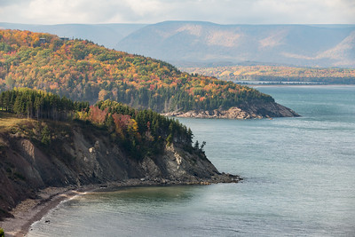 Black Head on Aspy Bay. On the east side of Cape Breton Island, the forests include maples all the way down to the sea shore. On the west side, by contrast, the salt spray makes for an environment inhospitable to maples.