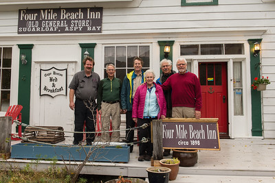 We stayed at the Four Mile Beach Inn on the northern side of Cape Breton Island. From the left: Mark Rasmussen, me, Darren Stratemeier, Marti Gaulrop, Mike Mercado, and Joe Maciejko.