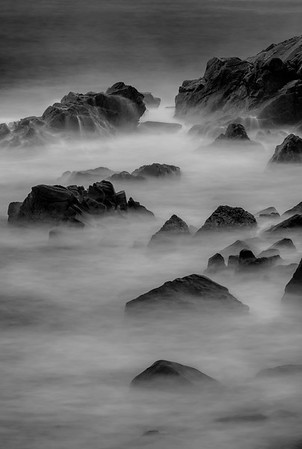 The surf was breaking heavily a little way up the cove from Black Brook Beach. This is a 2 minute 30 second exposure of the surf. 2nd in Black and White, January N4C 2017