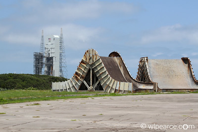 Apollo Saturn V launch pad blast deflectors with Delta 4 in the background. Get notifications via: