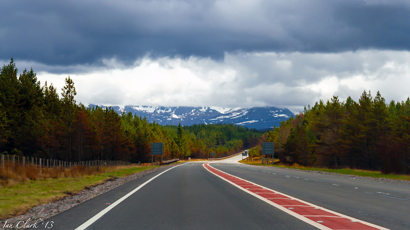 Driving through the Cairngorms.