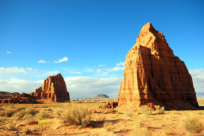 The Temples of the Sun and Moon:<br /> <br /> These two monoliths in Lower Cathedral Valley are the mysterious, time-sculpted centerpieces of Lower Cathederal Valley.