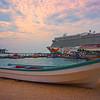 The Bay At Sunrise With The Ship Docked - Aruba, Caribbean Islands