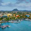 Overlooking The Color Buildings And Marina - Aruba, Caribbean Islands