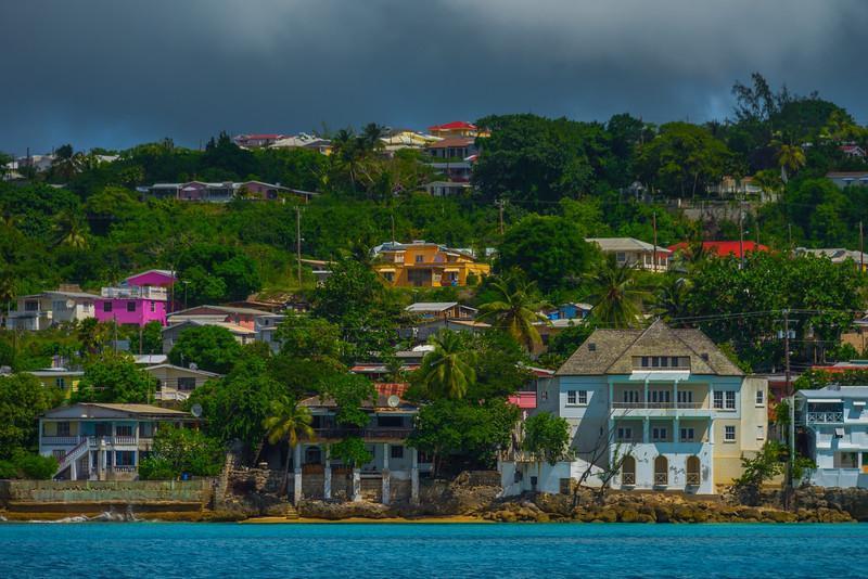 Houses Along The Coastline Of Barbados Bridgetown, Barbados, Caribbean Islands