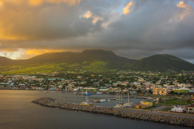 Sunset Glow Falls On The Hillsides Of St Kitts St Kitts, Caribbean Islands
