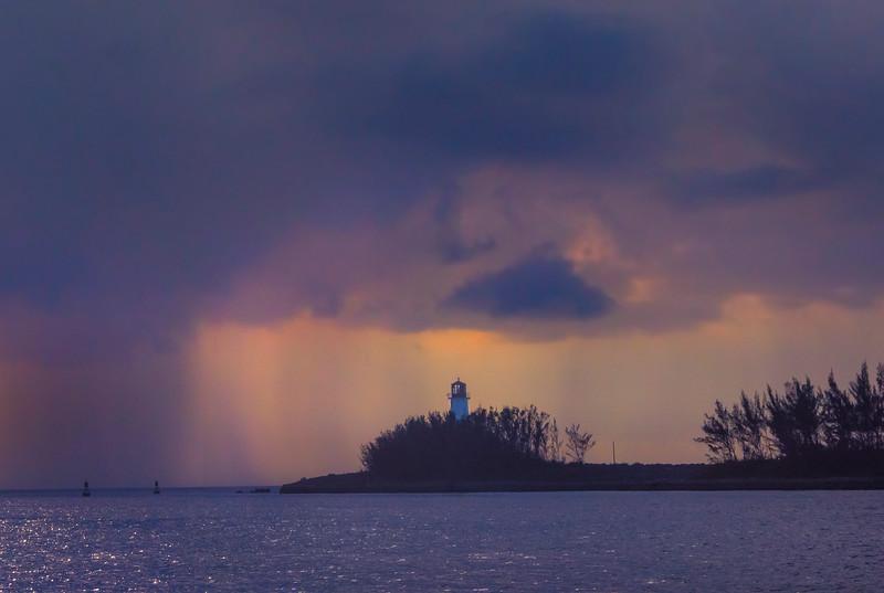 Nassau Lighthouse Framed Under Storm Clouds