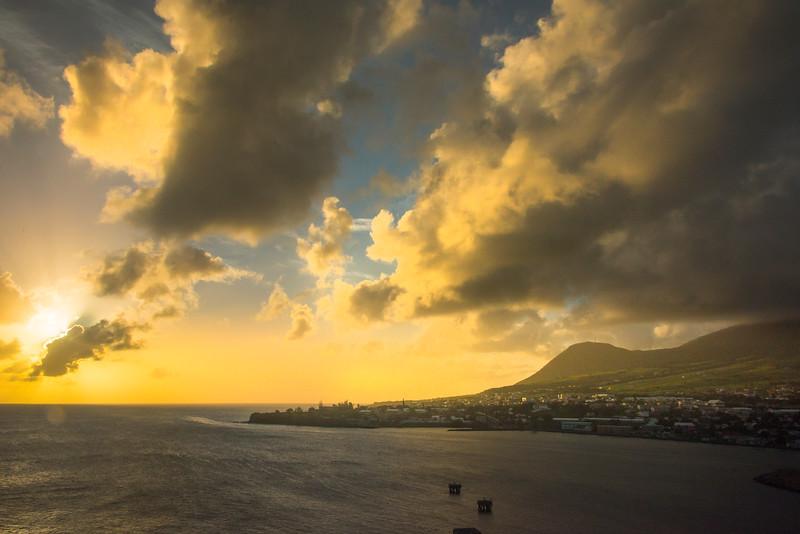 Last Light On The St Kitts Hills St Kitts, Caribbean Islands