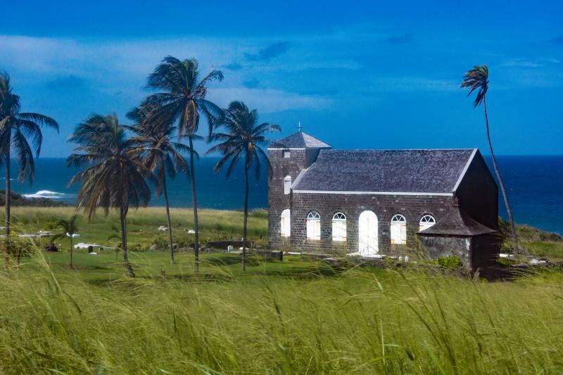 Church In Paradise Coastline St Kitts, Caribbean Islands
