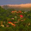 Sunset Light On The Rainforest Hills St Lucia, Caribbean Islands
