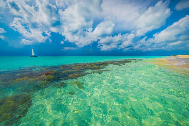 Sailing Away Through Tropical Paradise - Grace Bay, Providenciales, Turks & Caicos, Caribbean