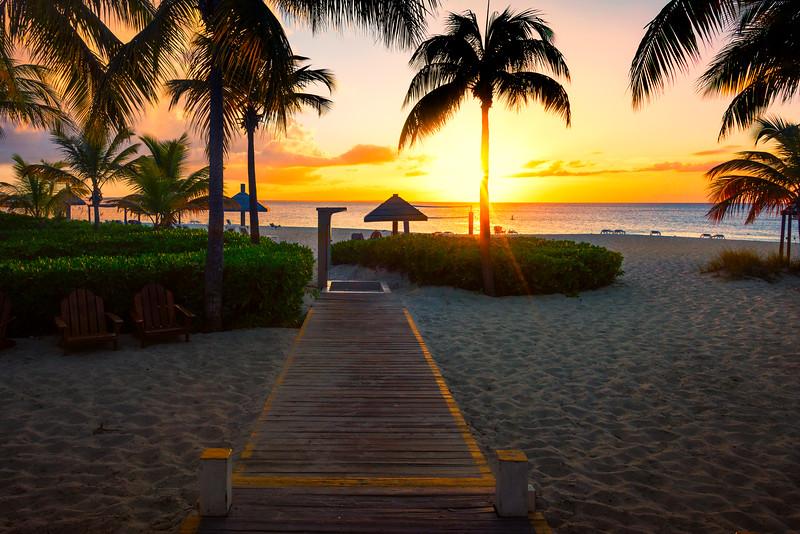 Sunset Boardwalk On Grace Bay - Grace Bay, Providenciales, Turks & Caicos, Caribbean