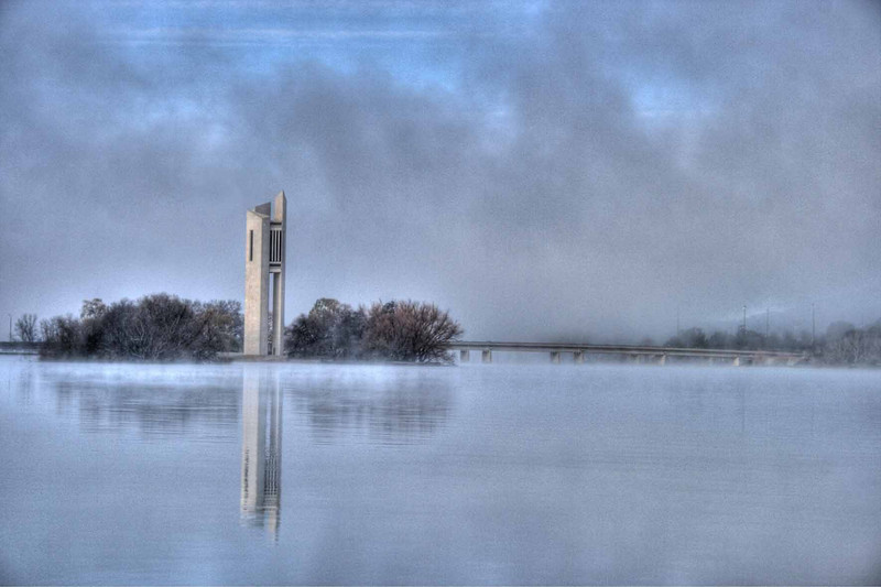 Carillon, Morning Fog, Lake Burley Griffin, Canberra