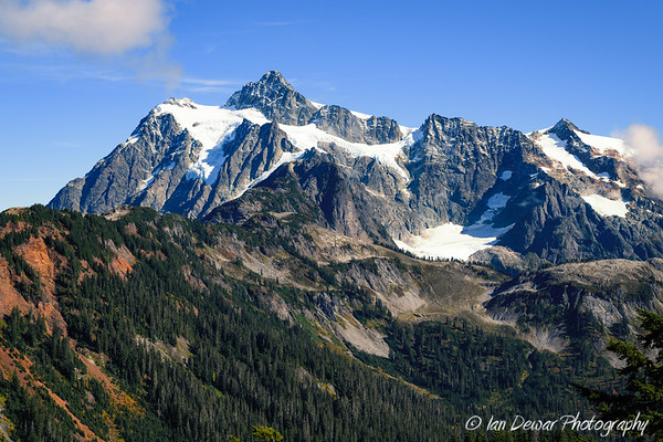 Mount Shuksan in fall with glaciers clinging to the mountain slopes