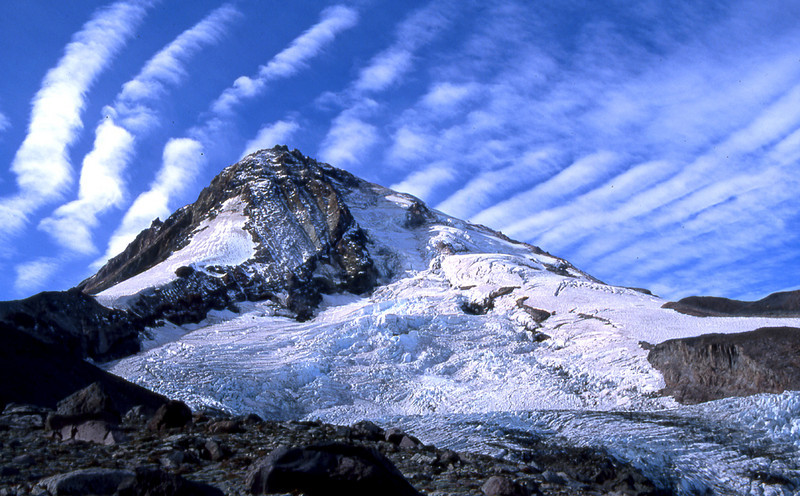 Mount Hood, Eliot Glacier, and altocumulus undulatus clouds
