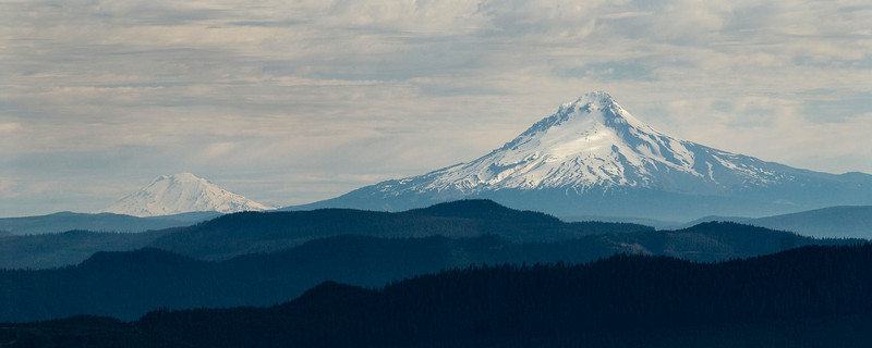 Mount Adams (left), Mount Hood (right)