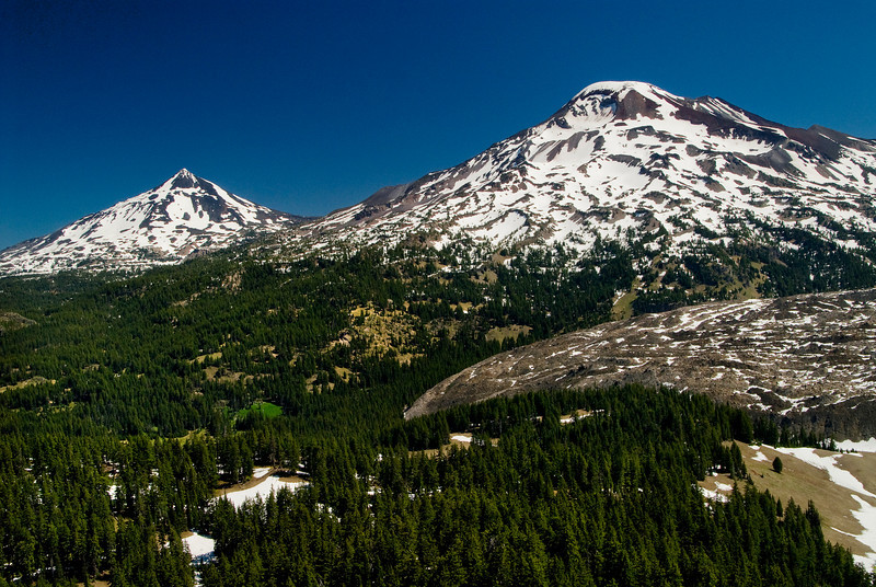 South Sister (right) with Lava Flow, Middle Sister (left) - from The wife (7020')