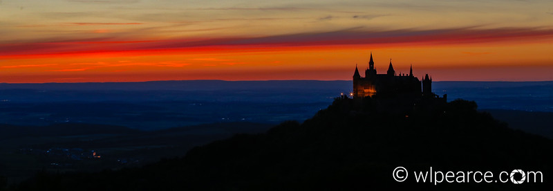 Burg Hohenzollern at the beginning of twilight.