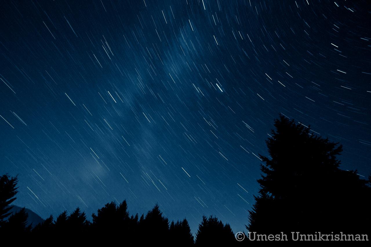 Western sky during the Perseids, 15 minute exposure
