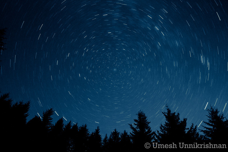 Northern sky during the Perseid meteor shower, centered around Polaris. 15 minute exposure.