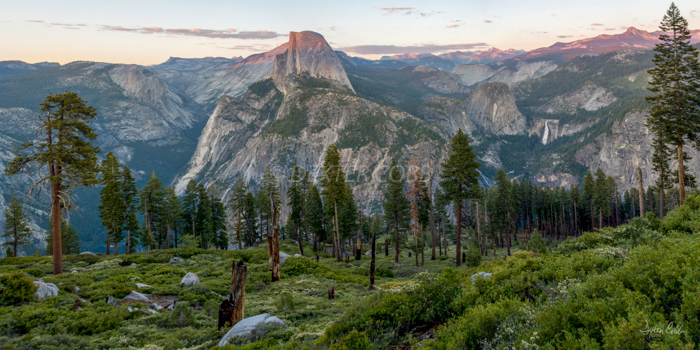 "Last Light on Half-Dome<br /> Time of day:  Sunset<br /> Date:  June 8, 2015<br /> <br /> Here is a view that certainly lends itself well to a panoramic image:  From the blooming foreground, to the conifers at mid-scene, to the grand iconic image of half-dome and the high sierra in the distance.  A pano is needed to convey the shear breath and majesty of this view.<br /> <br /> There were good clouds over Yosemite when I left Fresno 3 hours prior, and clear skies to the west way out over the Pacific, with clouds expected to remain over Yosemite with 20% chance of rain during the early evening.  Well, that didn't happen.<br /> <br /> Thankfully, this guy Dave, A young Jedi from Australia, was standing in my spot since I was forced to look at the scene from a different perspective.  It turns out that Dave was making the rounds: He started out photographing Joshua Tree, then he came here to Yosemite and next he will head on to Lake Tahoe and then home.  We had a good visit while we waited for the light to moderate although he did have to repeat himself and elaborate often with his thick accent and my tin ear.  Did you know that Aussies call eucalyptus trees gum trees? <br /> <br /> Dave noted that ""California has some truly beautiful scenery and that this view is right up there with the best of 'em.""  <br /> <br /> Can't argue with that."