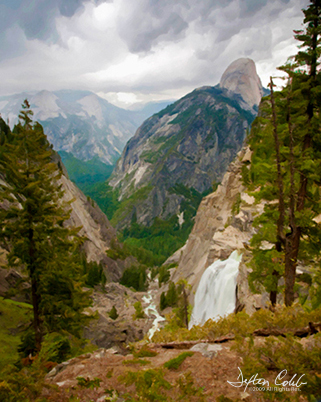 """Illilouette Gorge and Falls<br /> Time of day:  mid-day<br /> Date:  May 30, 2009<br /> <br /> Casse and I took the Panorama Trail  <a href=""""http://www.yosemitehikes.com/glacier-point-road/panorama-trail/panorama-trail.htm"""">http://www.yosemitehikes.com/glacier-point-road/panorama-trail/panorama-trail.htm</a> down from Yosemite's Glacier Point to photograph Illilouette Falls.  Being an old timer with a fickle back, I must say that I was initially hesitant but greatly inspired by a beautiful image of the falls made by professional photographer Vern Clevenger.  See  <a href=""""http://www.vernclevenger.com/site/catalog-index/images/08-2"""">http://www.vernclevenger.com/site/catalog-index/images/08-2</a> .  The trail descends a good 2 miles to the waterfall which is not viewable from any roadway.<br /> <br /> Dark clouds were not welcome on this day with their rain, thunder and lightning.   I was hoping for bright puffy cumulus clouds with blue skies.<br /> <br /> Most folks park at the bottom of this trail and take the shuttle up to Glacier Point.  However, we were not up for a 9 mile hike.  So we hiked back up to the car at Glacier Point after photographing the waterfall.<br /> <br /> The toughest """"20 mile"""" hike I have ever taken was the 2 mile uphill hike back to Glacier Point!  Although Casse recovered within a couple of days, I could barely walk for the better part of a week.<br /> <br /> Still, we hope to return next year and re-shoot Illilouette falls without the thunderstorm.  I love this scene; a 24""""x30"""" canvas print hangs above my mantle.<br /> <br /> A 3 stop soft edge graduated neutral density filter (Singh Ray) was used in this composition.  Processed with impressionist filter in photoshop."""
