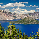 Crater Lake trees and island.  Oregon. DSC_6438