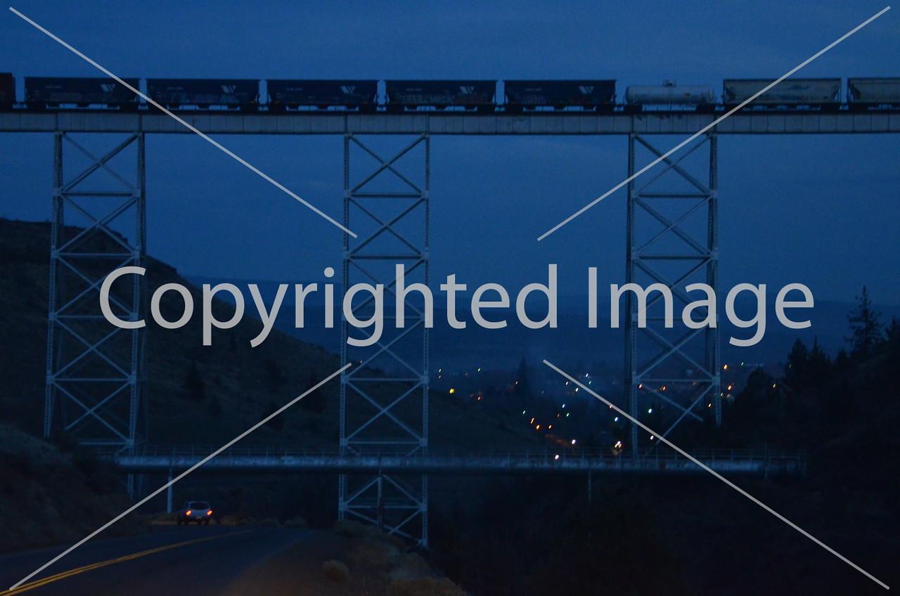Railroad trestle at night