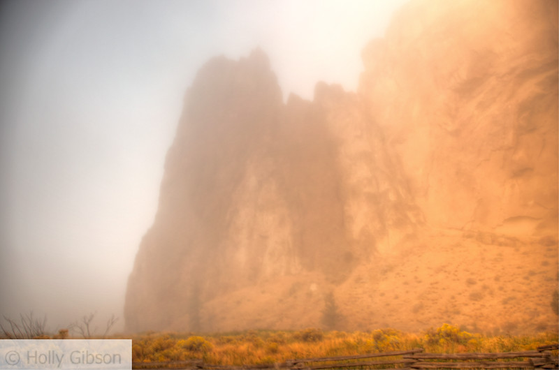 Smith Rock in fog - 65