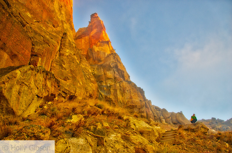 Lone hiker at Smith Rock at sunrise - 61
