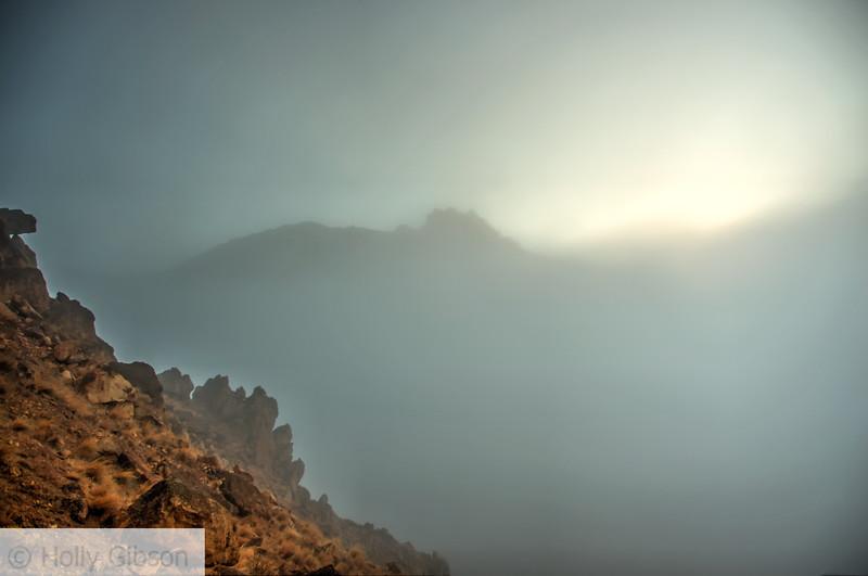 Sun breaking through the fog at Smith Rock - 62